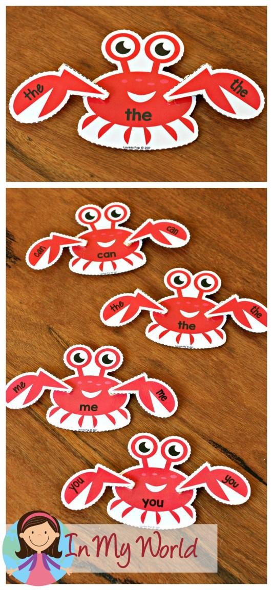 FREE Ocean Preschool Centers sight word crabs