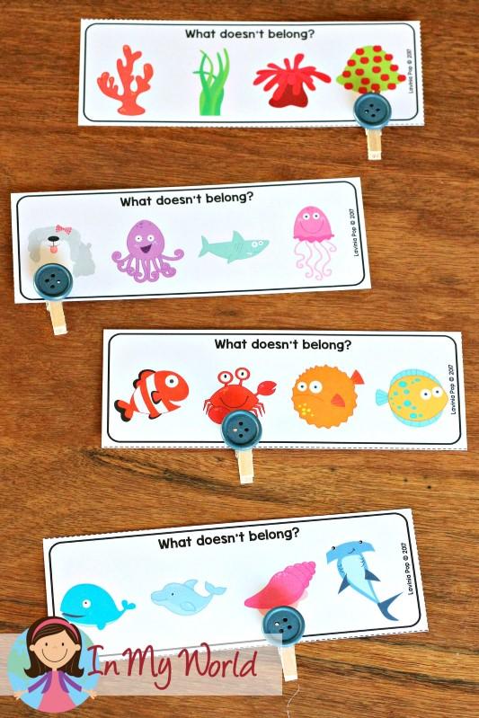 Ocean Preschool Centers What Doesn't Belong? cards