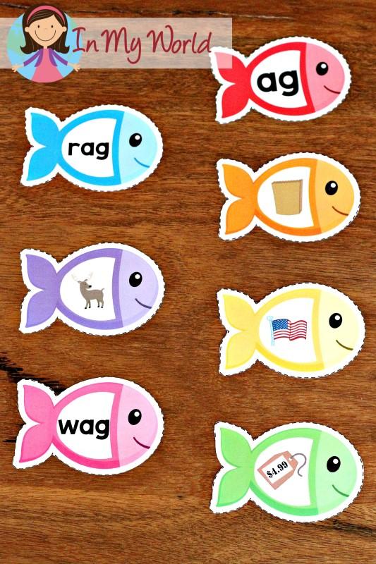 FREE Ocean Preschool Centers school of fish word family sorting activity