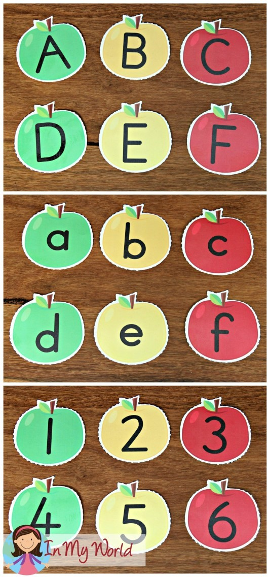 FREE Back to School Literacy Centers for Kindergarten Apple numbers and letters
