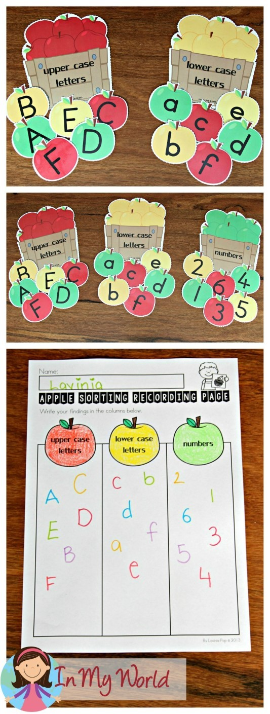 FREE Back to School Literacy Centers for Kindergarten Sorting upper case, lower case letters and numbers