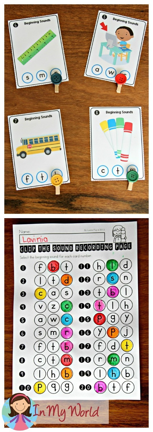 FREE Back to School Literacy Centers for Kindergarten beginning sounds Clip It! cards