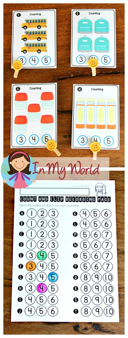 FREE Back to School Math Centers for Kindergarten. Count and clip activity.