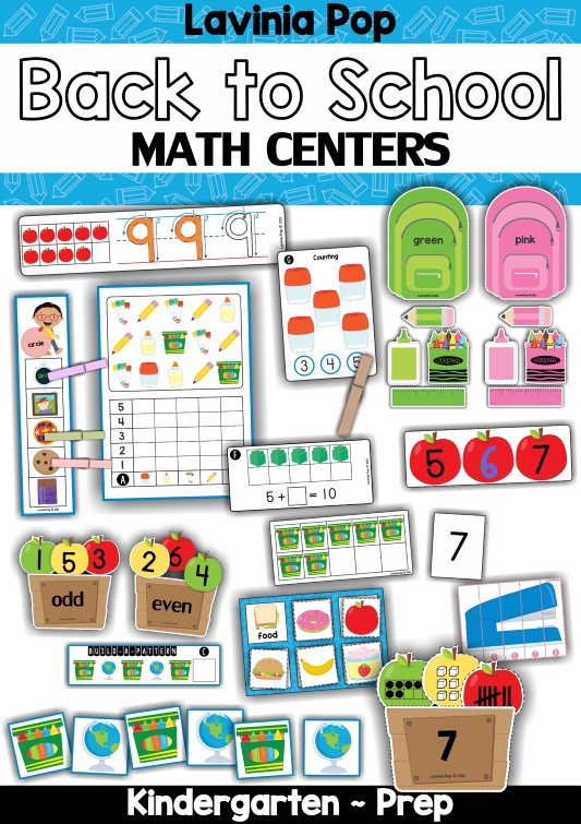 FREE Back to School Math Centers for Kindergarten.