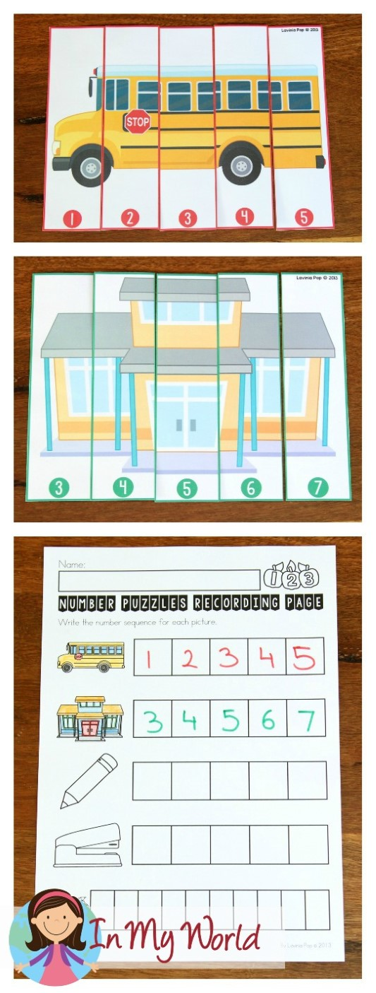 FREE Back to School Math Centers for Kindergarten. Puzzle number sequence activity.