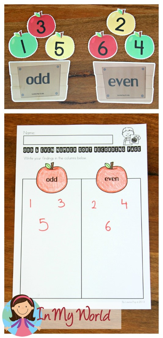 FREE Back to School Math Centers for Kindergarten. Odd and even number sorting.