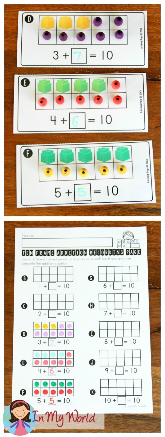 FREE Back to School Math Centers for Kindergarten. Ten frame addition making 10.