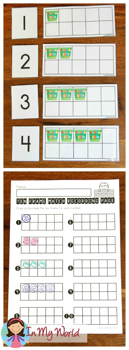 FREE Back to School Math Centers for Kindergarten. Ten frame and number match activity.