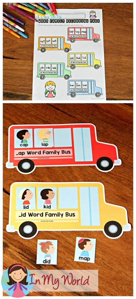 FREE Back to School Literacy Centers for Kindergarten Word Family bus sorting