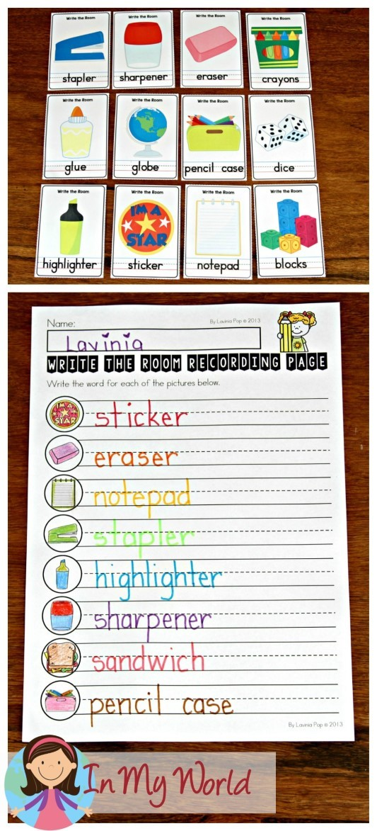 FREE Back to School Literacy Centers for Kindergarten Write the Room cards and recording page
