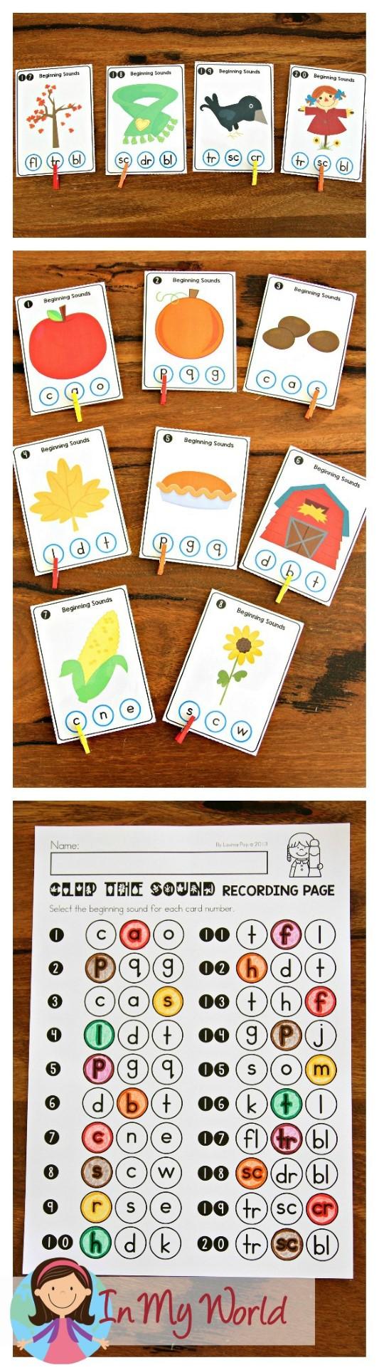 FREE Autumn Literacy Centers for Kindergarten. Beginning Sounds.