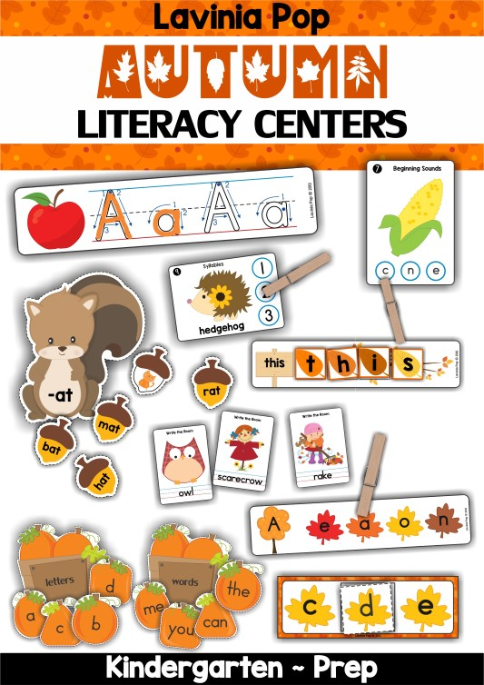 FREE Autumn Literacy Centers for Kindergarten.