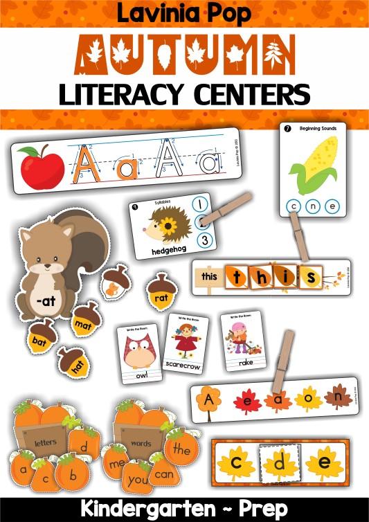 FREE Autumn Literacy Centers for Kindergarten.