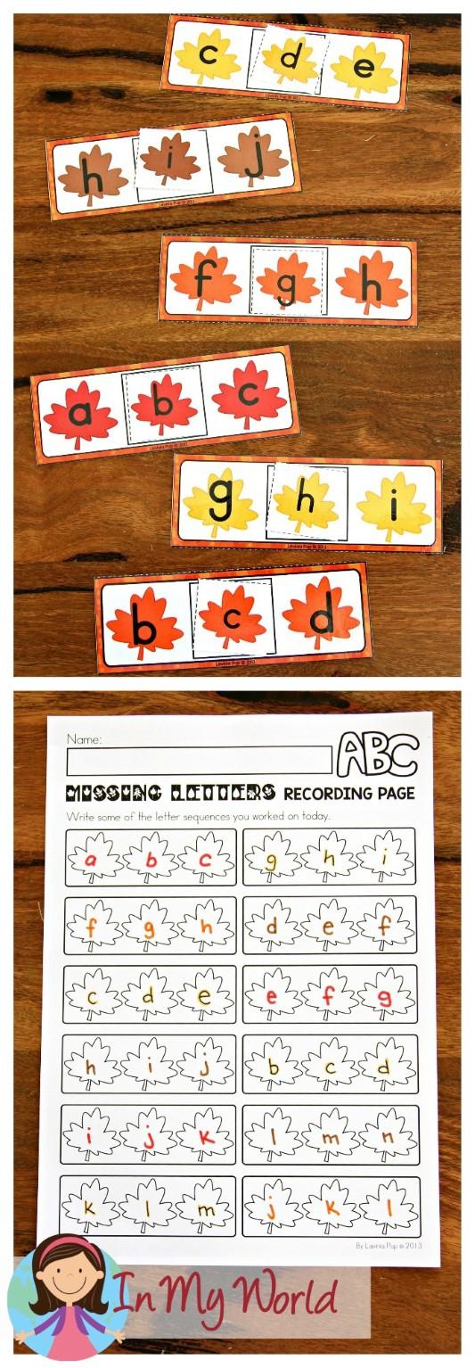 FREE Autumn Literacy Centers for Kindergarten. Missing letter.