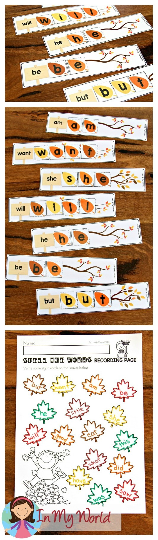 FREE Autumn Literacy Centers for Kindergarten. Sight Words.