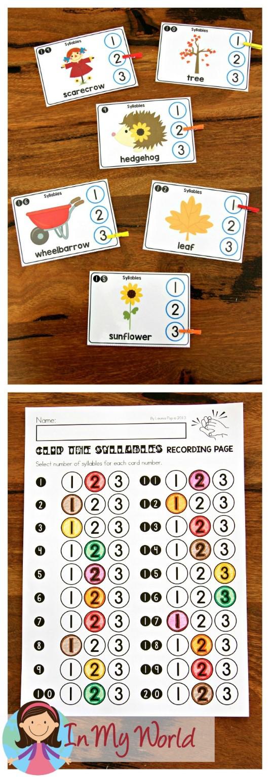 FREE Autumn Literacy Centers for Kindergarten. Syllables.