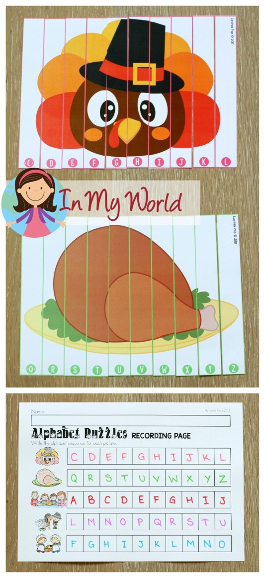 FREE Thanksgiving Literacy Centers for Kindergarten. Alphabet order puzzles.