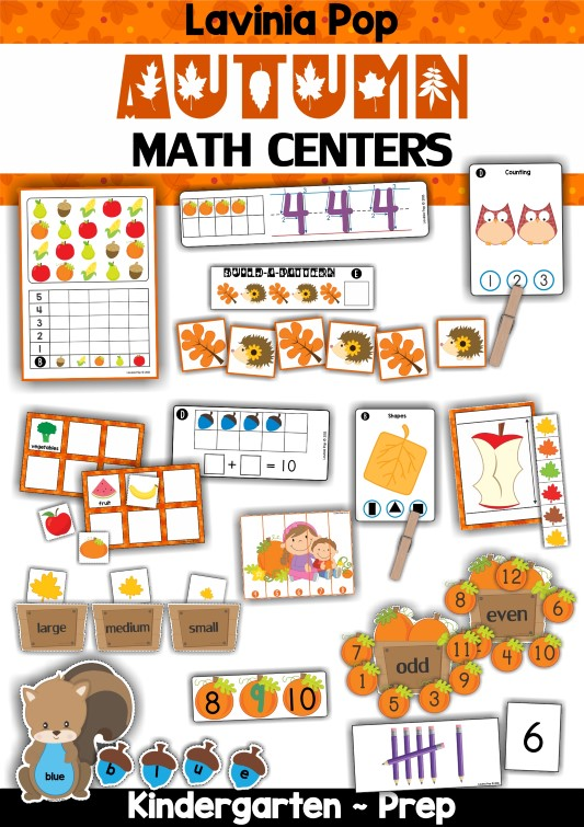 FREE Autumn / Fall Math Centers for Kindergarten.