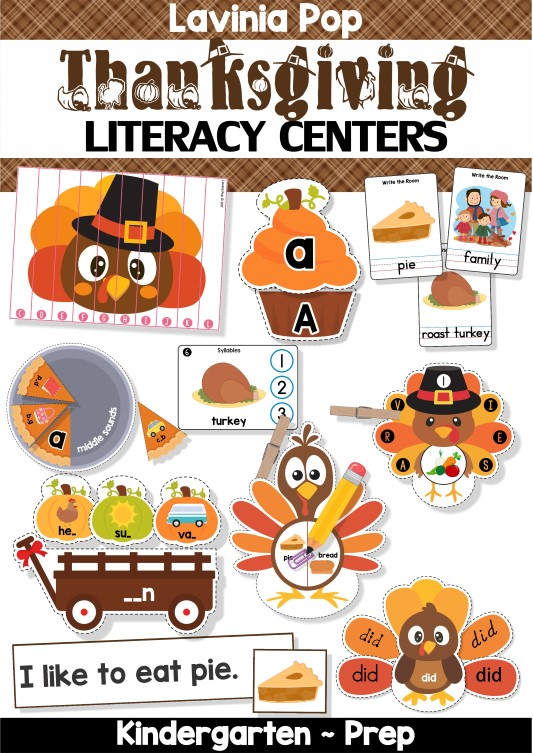 FREE Thanksgiving Literacy Centers for Kindergarten