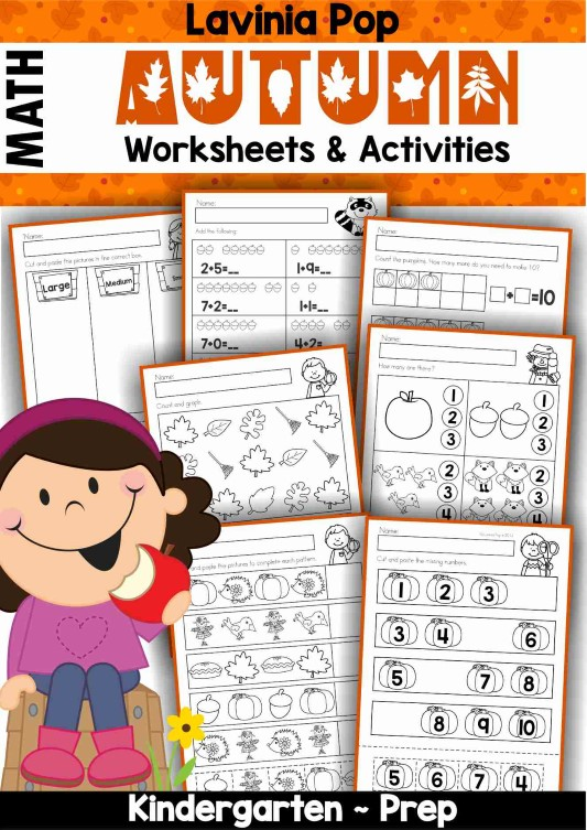 Autumn / Fall Math Worksheets for Kindergarten.