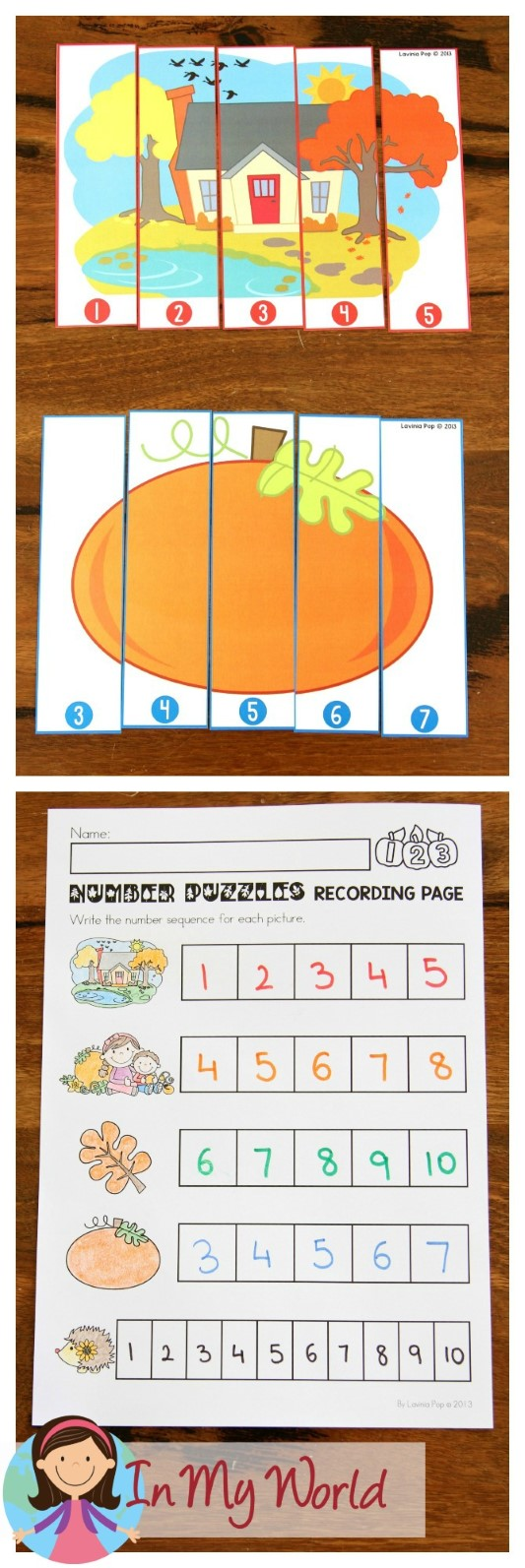 FREE Autumn / Fall Math Centers for Kindergarten. Number puzzles for sequencing.