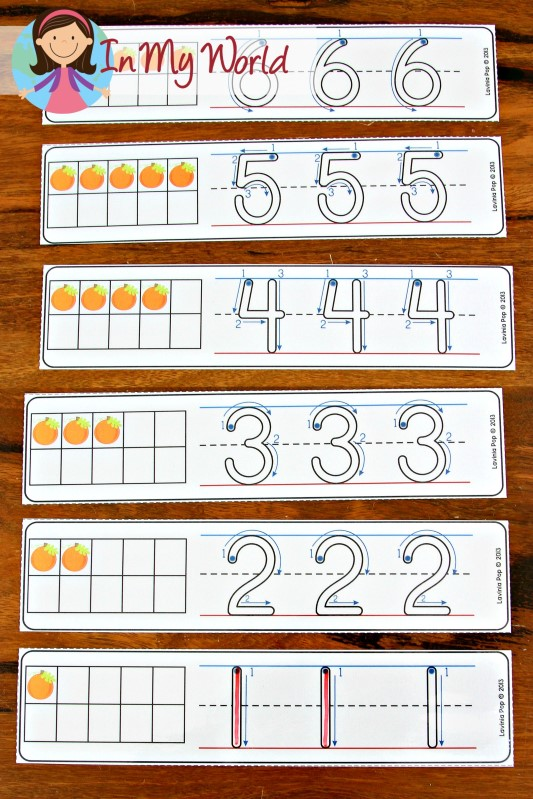 FREE Autumn / Fall Math Centers for Kindergarten. Pumpkin ten frame number tracing cards.