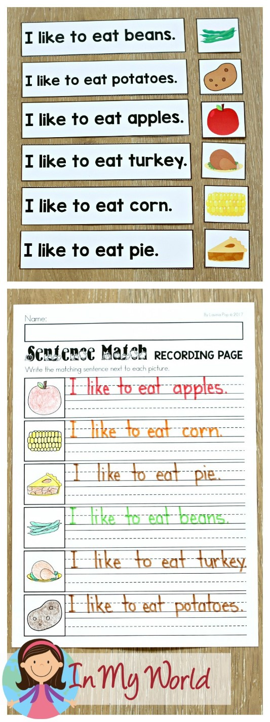 FREE Thanksgiving Literacy Centers for Kindergarten. Sentence to Picture Match.