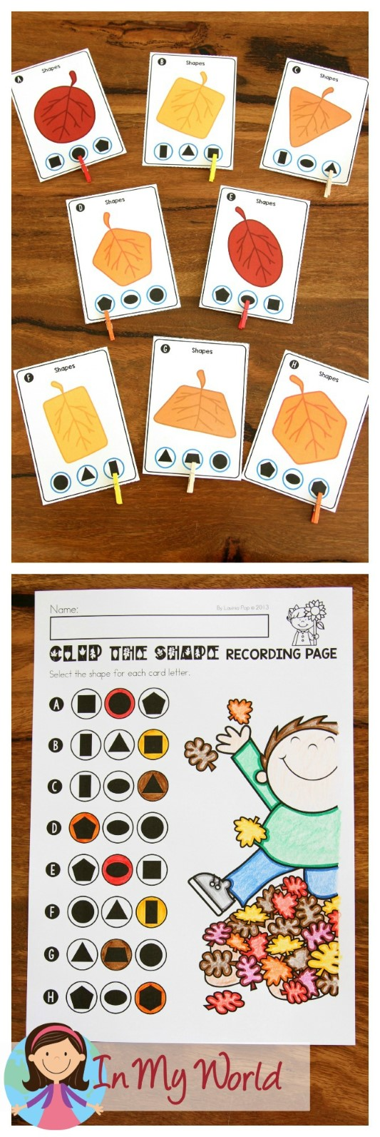 FREE Autumn / Fall Math Centers for Kindergarten. Leaf shape matching activity.