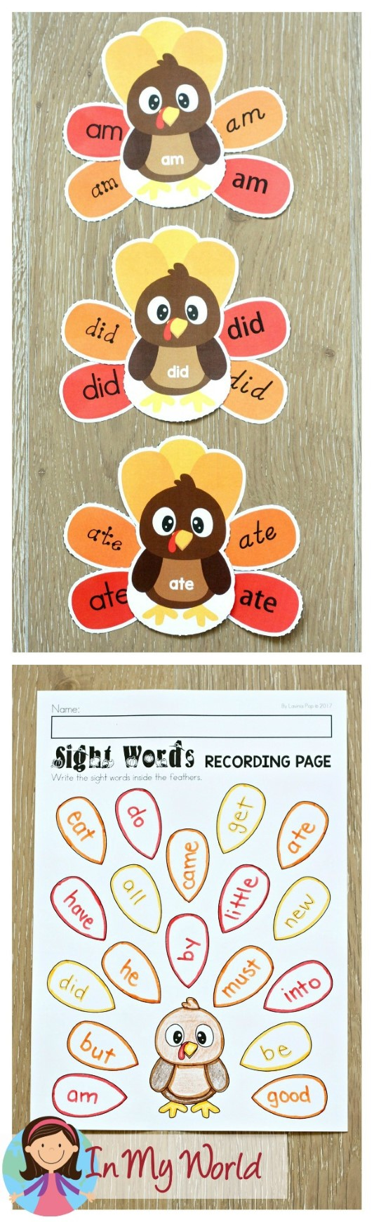 FREE Thanksgiving Literacy Centers for Kindergarten. Primer Sight Word Turkeys.
