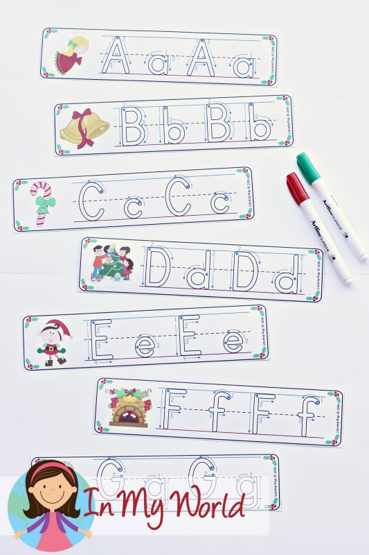 FREE Christmas Literacy Centers for Kindergarten. Alphabet write and wipe cards.