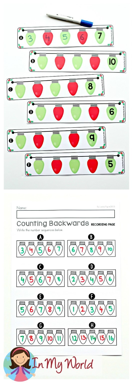 FREE Christmas Math Centers for Kindergarten. Counting backwards.