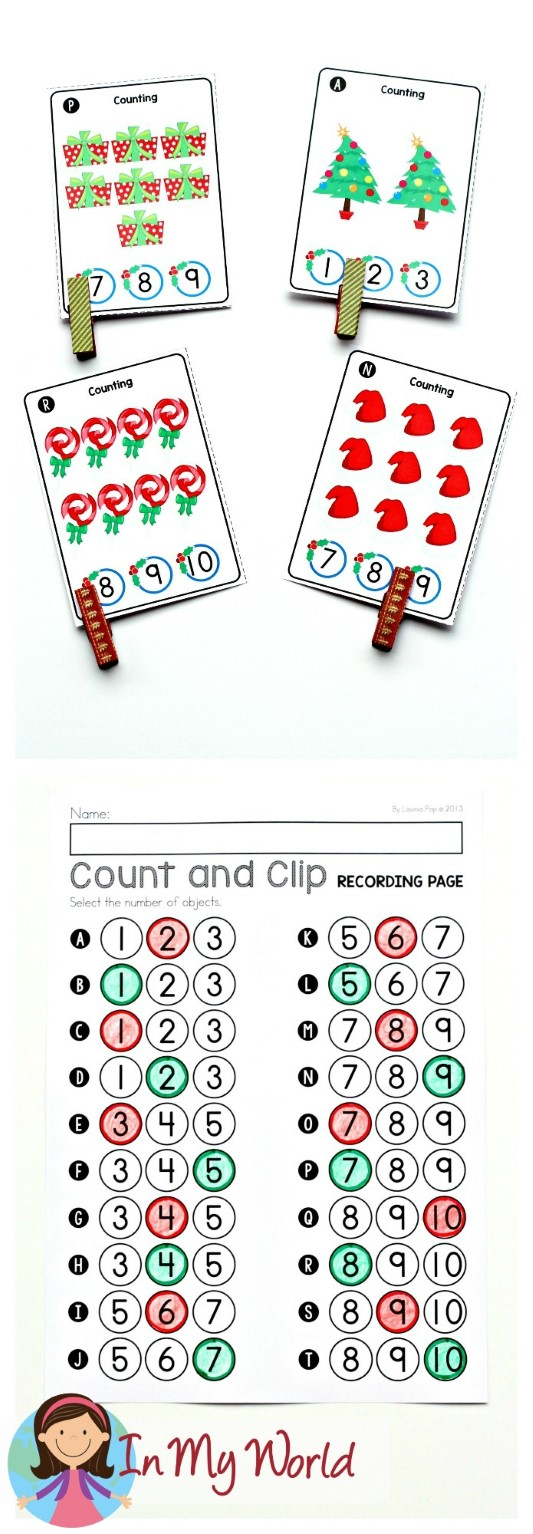 FREE Christmas Math Centers for Kindergarten. Counting activity.