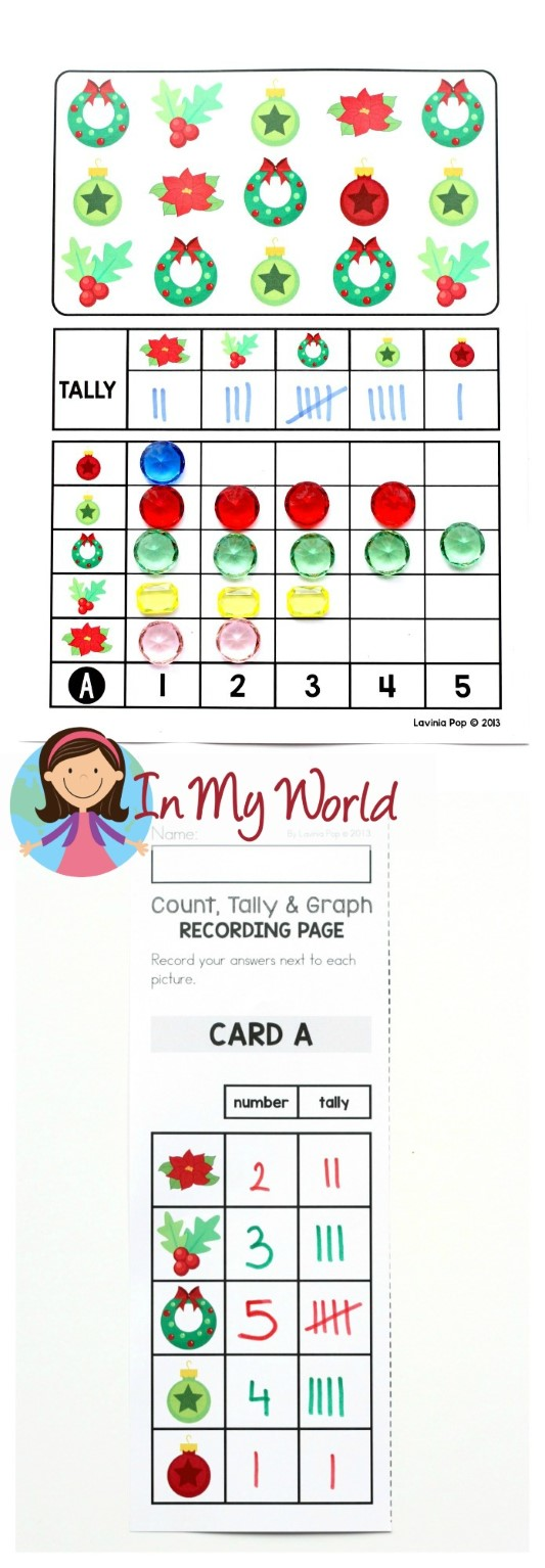 FREE Christmas Math Centers for Kindergarten. Graph activity.