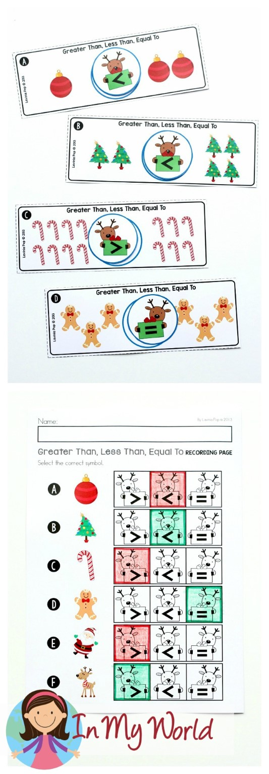 FREE Christmas Math Centers for Kindergarten. Greater than, Less than, Equal to