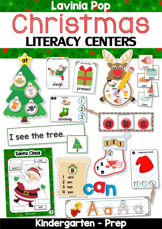 FREE Christmas Literacy Centers for Kindergarten.