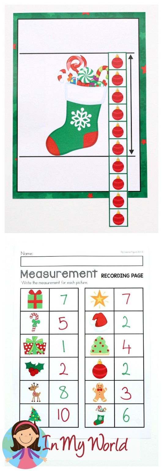 FREE Christmas Math Centers for Kindergarten. Non-standard measurement.