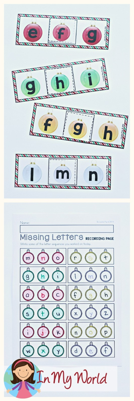 FREE Christmas Literacy Centers for Kindergarten. Missing letters.
