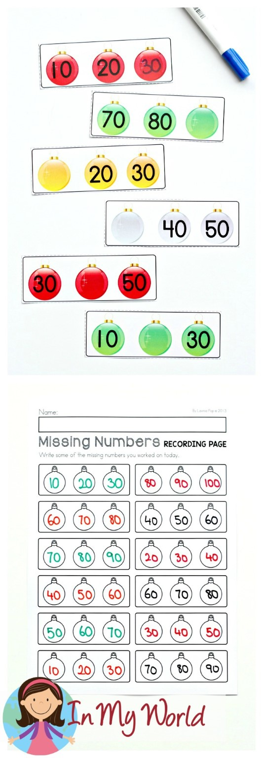 FREE Christmas Math Centers for Kindergarten. Missing numbers.
