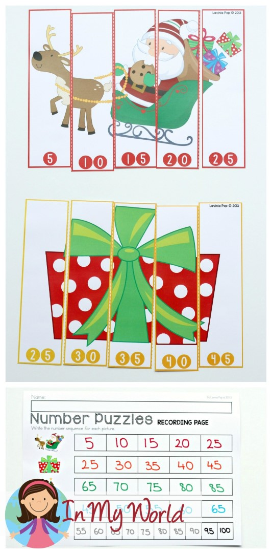 FREE Christmas Math Centers for Kindergarten. Number puzzles.
