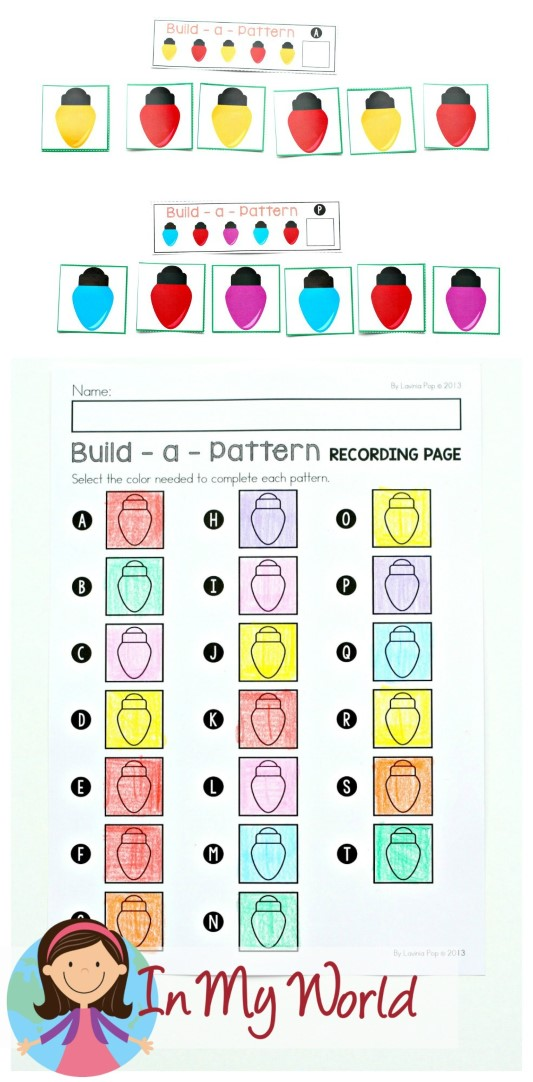 FREE Christmas Math Centers for Kindergarten. Patterns.