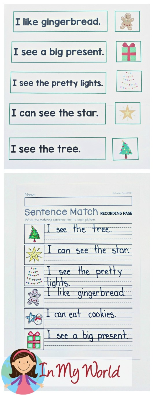 FREE Christmas Literacy Centers for Kindergarten. Sentence and picture match.