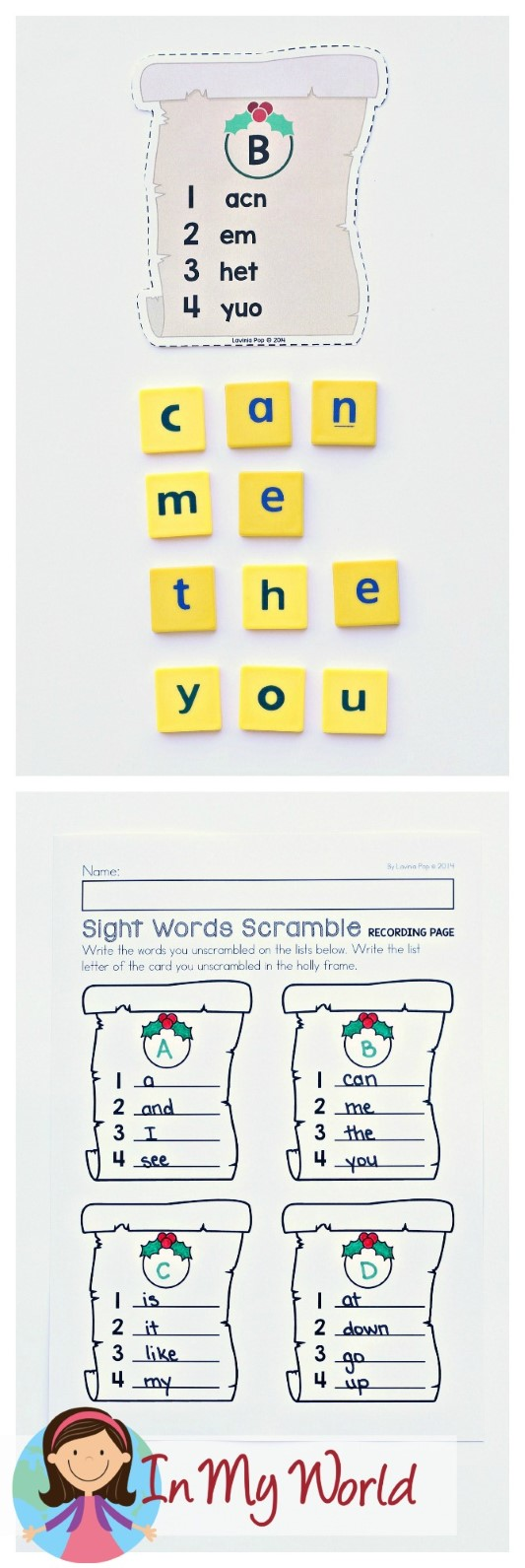 FREE Christmas Literacy Centers for Kindergarten. Sight words.