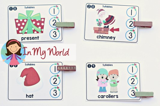 FREE Christmas Literacy Centers for Kindergarten. Syllables.