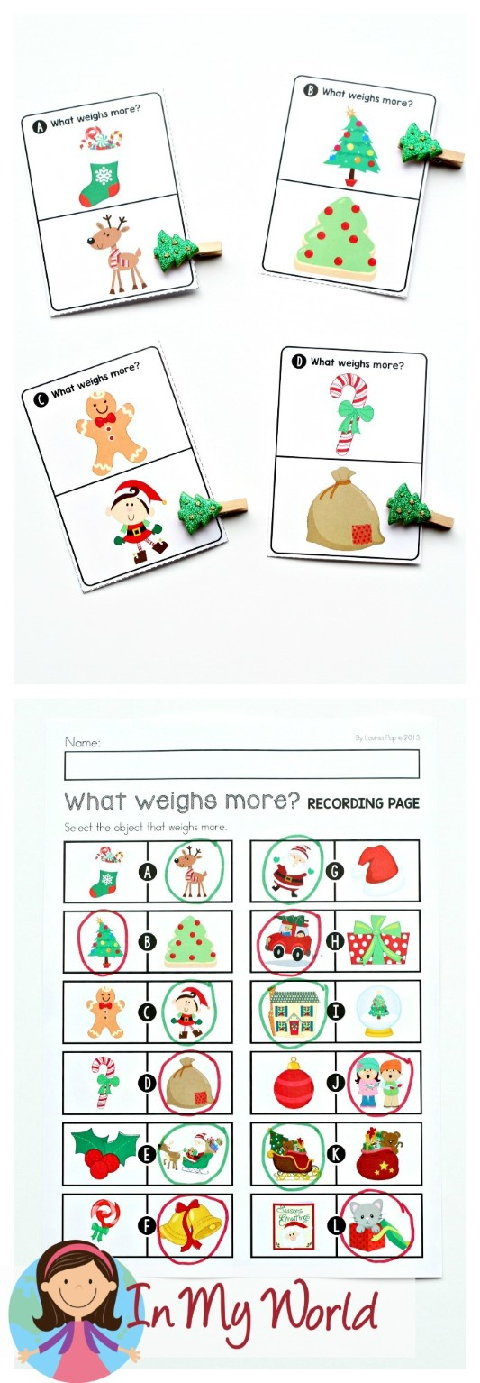 FREE Christmas Math Centers for Kindergarten. What weighs more activity.