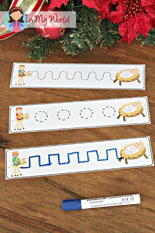 Christmas Nativity Preschool Centers Pre-Writing practice cards