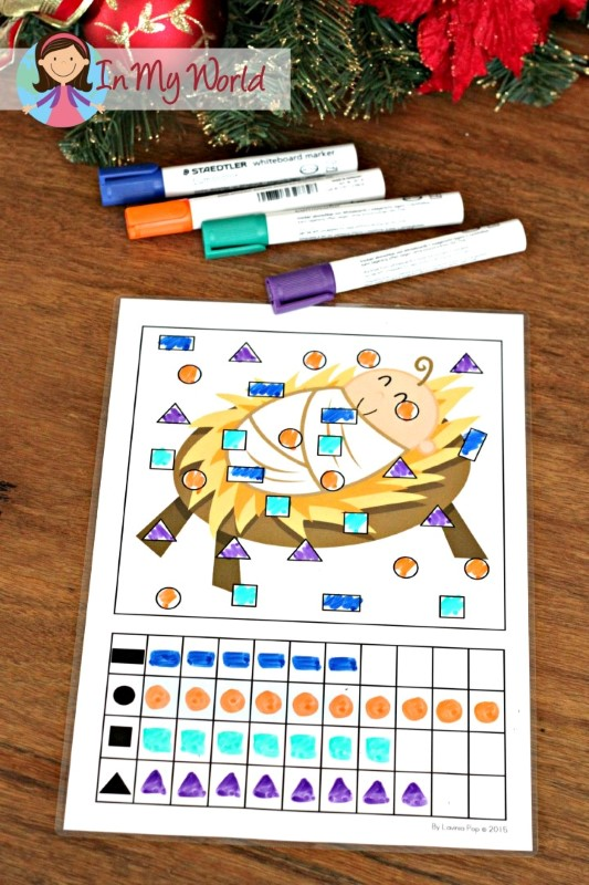 Christmas Nativity Preschool Centers Shape graphing activity
