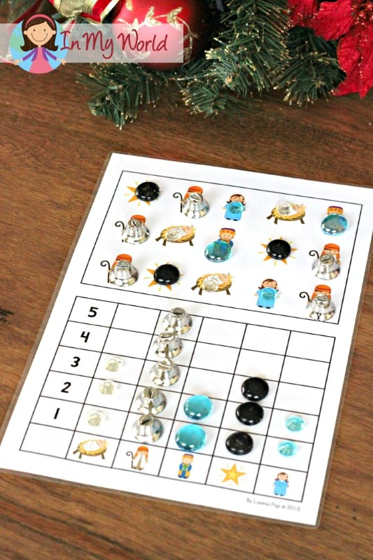 Christmas Nativity Preschool Centers Count and graph activity