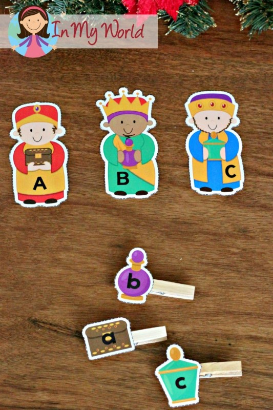 Christmas Nativity Preschool Centers Beginning sounds wise men and gifts matching activity