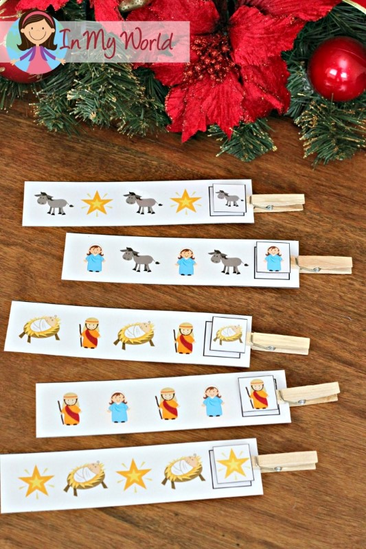 Christmas Nativity Preschool Centers Pattern cards