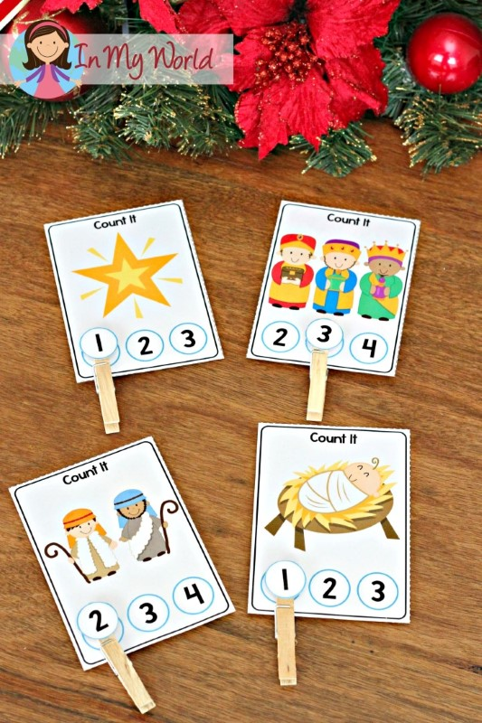 Christmas Nativity Preschool Centers count and clip activity